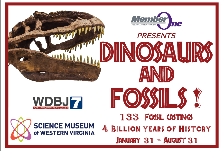 dinosaurs fossils banner Science Museum of Western Virginia new exhibit